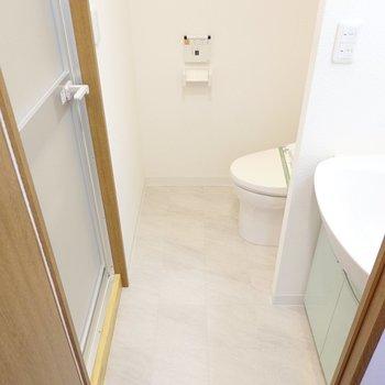 キッチンの背面側には脱衣所。洗面台とトイレが同室です。(※写真は4階の同間取り別部屋のものです)
