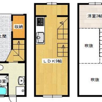 1階は土間、2階に居室+ロフト付き。