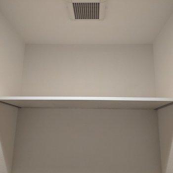トイレ上には棚があります。トイレットペーパーや掃除道具など置けます。