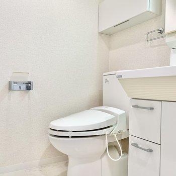 温水洗浄付きのトイレです。※写真はクリーニング前です