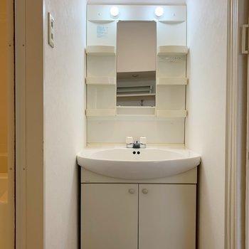 洗面台には脇にも棚があって、ありがたいです。(※写真は8階の同間取り別部屋のものです)