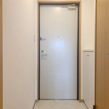 玄関まわりは白で。(※写真は8階の同間取り別部屋のものです)