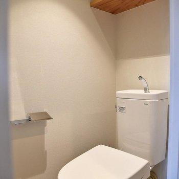 嬉しい個室トイレ。棚には掃除用品などをストックしておけますね。