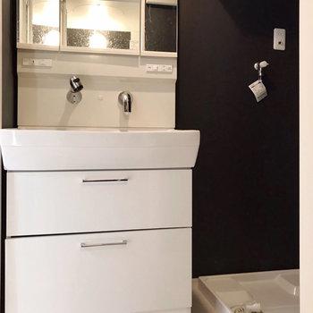 大きな洗面台で朝の支度もラクラク(※写真は1階の同間取り別部屋、清掃前のものです)