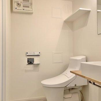 トイレは脱衣所に。匂い対策とこまめな掃除はしっかりと。