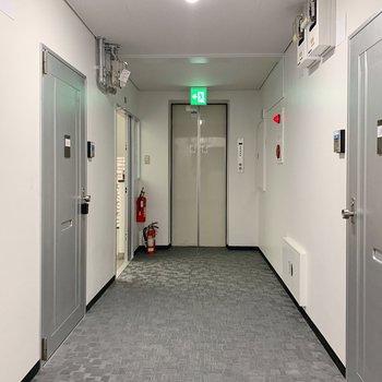 共用部もきれいです。お部屋まではエレベーターで。