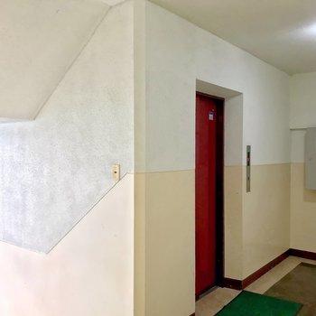 1階からエレベータまではちょっぴり階段をのぼります。