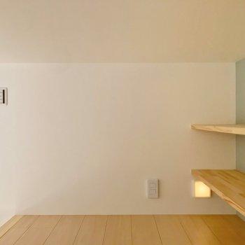 棚の近くに照明とコンセントがあります。