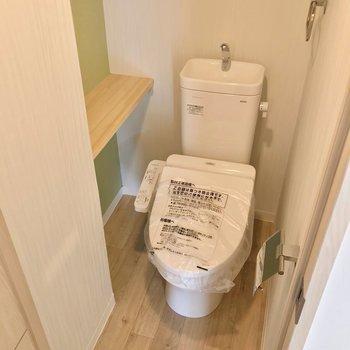 ウォシュレット付き。ワンちゃんもここでトイレしてくれたら後片付けが楽になるだろうなぁ……
