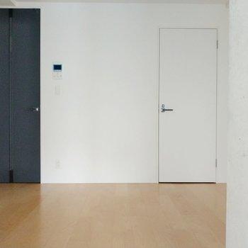 リビング側、黒の扉が玄関。お隣は脱衣所。(※写真は4階の同間取り別部屋のものです)