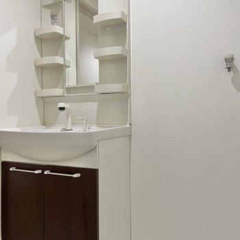 洗面台は丁度いいサイズ感!洗剤などのストックも入れられます◯