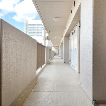 【共用部】廊下は大きい荷物でも楽々通れそうな広さ