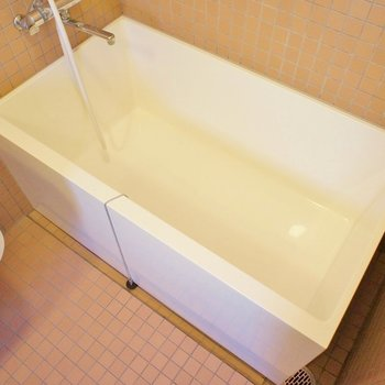 お隣はお風呂。すごい四角。(※写真は3階の同間取り別部屋のものです)