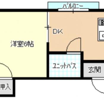間取りはキッチンスペースゆったりめの1DK。