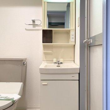 コンパクトでちょっとレトロな洗面台がかわいい◎(※写真は11階の同間取り角部屋のものです)
