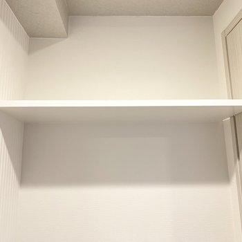 上に棚も付いてます(※写真は9階の反転間取り別部屋のものです)