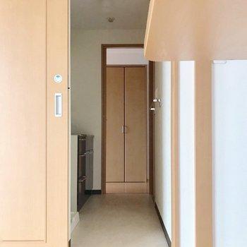 【下階】カウンターの隣に脱衣所。廊下へウォークスルーできます。(※写真は5階の反転間取り別部屋のものです)