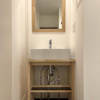 振り返って扉の向こうはサニタリー。まずは洗面台。
