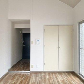 突っ張り棒とカーテンでキッチンと洋室を仕切るものアリ。