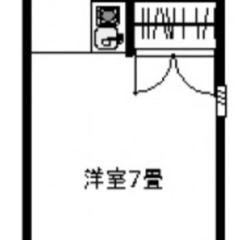 間取りは1R7帖。最上階のお部屋です。