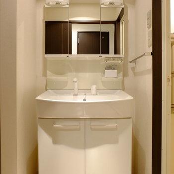洗面台も広々です。(※写真は2階の同間取り別部屋のものです)