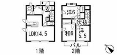 東野タウンハウスE棟の間取り