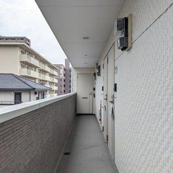 共用廊下はコンパクト。外に面していて明るいです。