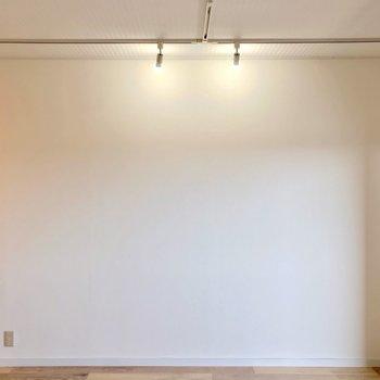 白い壁側にはライティングレール。