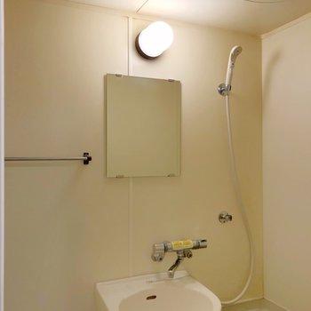 サーモ水栓で鏡もついています。