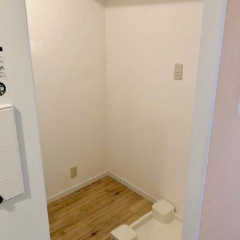 その裏側には洗濯機置場と冷蔵庫置場。上の棚が便利です。
