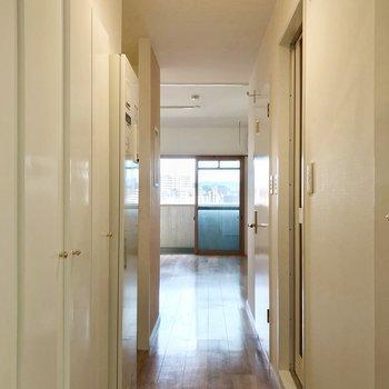 玄関から見た景色。室内がちょっぴり見えますね。
