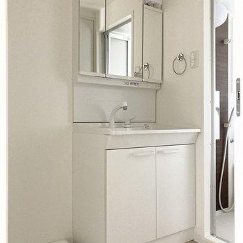 横には洗面台。ホワイトカラーの統一感がいいですね◎