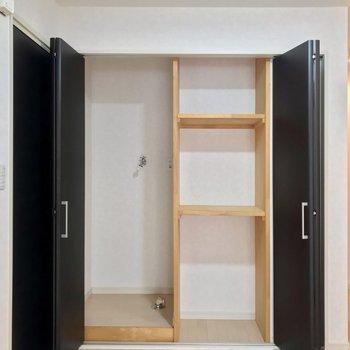 キッチン近くの黒い扉の中には収納と、