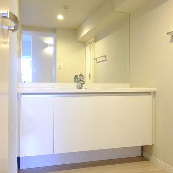 デザインだけでなく、収納もたっぷりの洗面台です(※写真は8階の同間取り別部屋のものです)