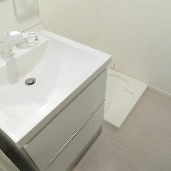 洗面脱衣所も完備※写真は反転間取りの102号室のもの