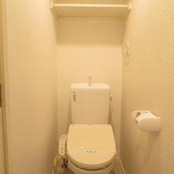 温水洗浄便座付きのトイレです※写真は反転間取りの102号室のもの