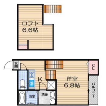 ロフトと洋室がほとんど同じ大きさ