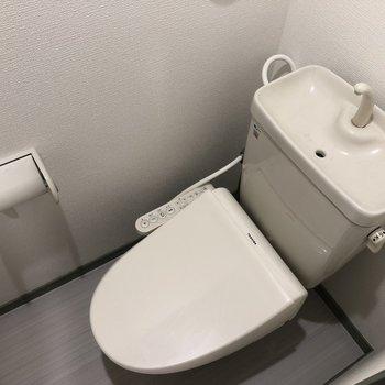 ウォシュレット付きでクールな印象のトイレ(※写真は清掃前の同間取り別部屋のものです)