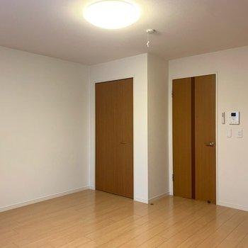左はクローゼットの扉、右は廊下の扉、おそろいの色ですね〜(※写真は1階反転間取り別部屋のものです)