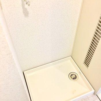 洗濯パンはトイレの向かい側に。(※写真は3階の反転間取り別部屋のものです)