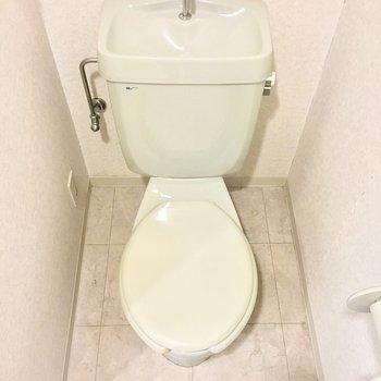 緑のレトロなトイレ。 (※写真は3階の反転間取り別部屋のものです)