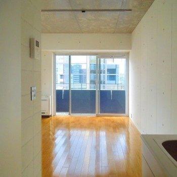 壁の白とバルコニーのネイビーのコントラスト(※写真は7階同間取り別部屋のものです)