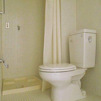 その隣にトイレ。洗濯機置場との仕切りはカーテン(※写真は7階同間取り別部屋のものです)