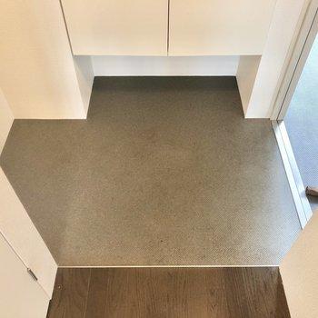 フラットな玄関は傘立てを左の凹みに設置できますね。(※写真は2階の反転間取り別部屋のものです)