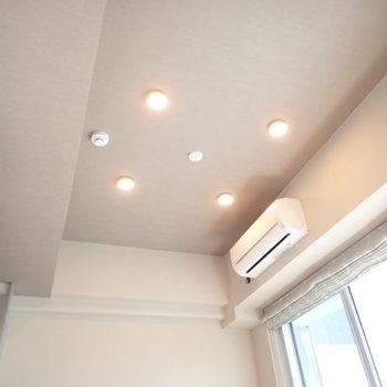 天井には輝くダウンライトがぽつぽつと。