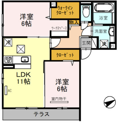 (仮)D-room温品2丁目の間取り