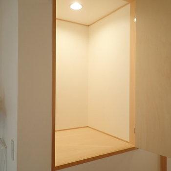 階段のそばに収納があります。奥行きはしっかりあるので、扇風機とかも入りそうです。