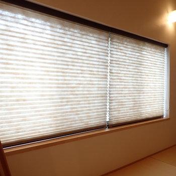 どちらの窓も、光を和らげるブラインド付きです!