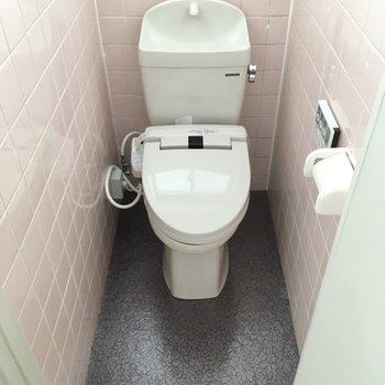 左側にウォシュレット付きのトイレ。レトロを残しつつ、キュートに。