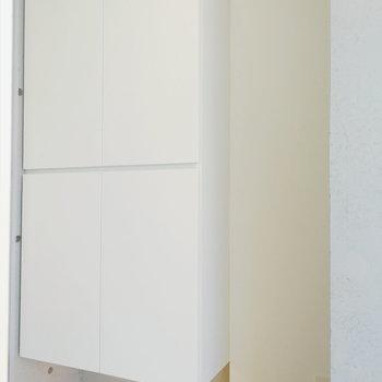 最後に玄関の収納をチェック。※写真は8階の同間取り別部屋のものです